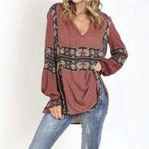 Free People Changing Times Floral Prt  Tunic M EUC